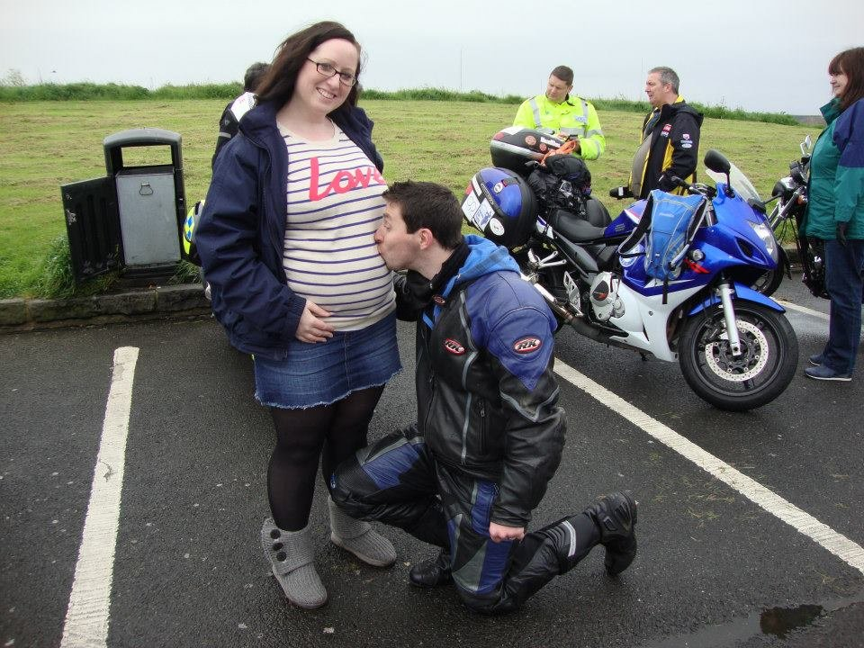 Gordon saying his final goodbye to his wife Kirsty (and the bump) before setting off!