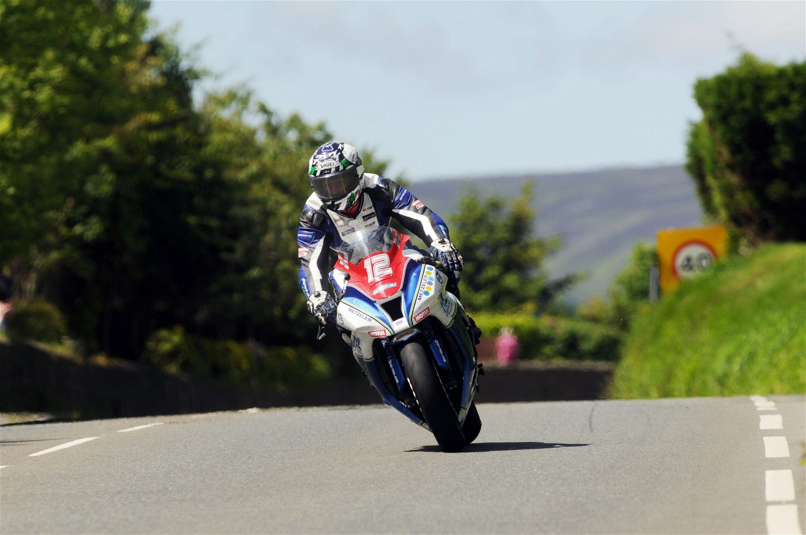 Dean Harrison on his wa to second place in last years Superstock TT race