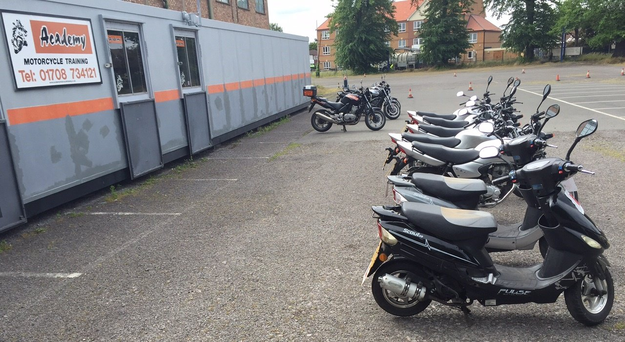 Bikes in a row at Academy Motorcycle Training