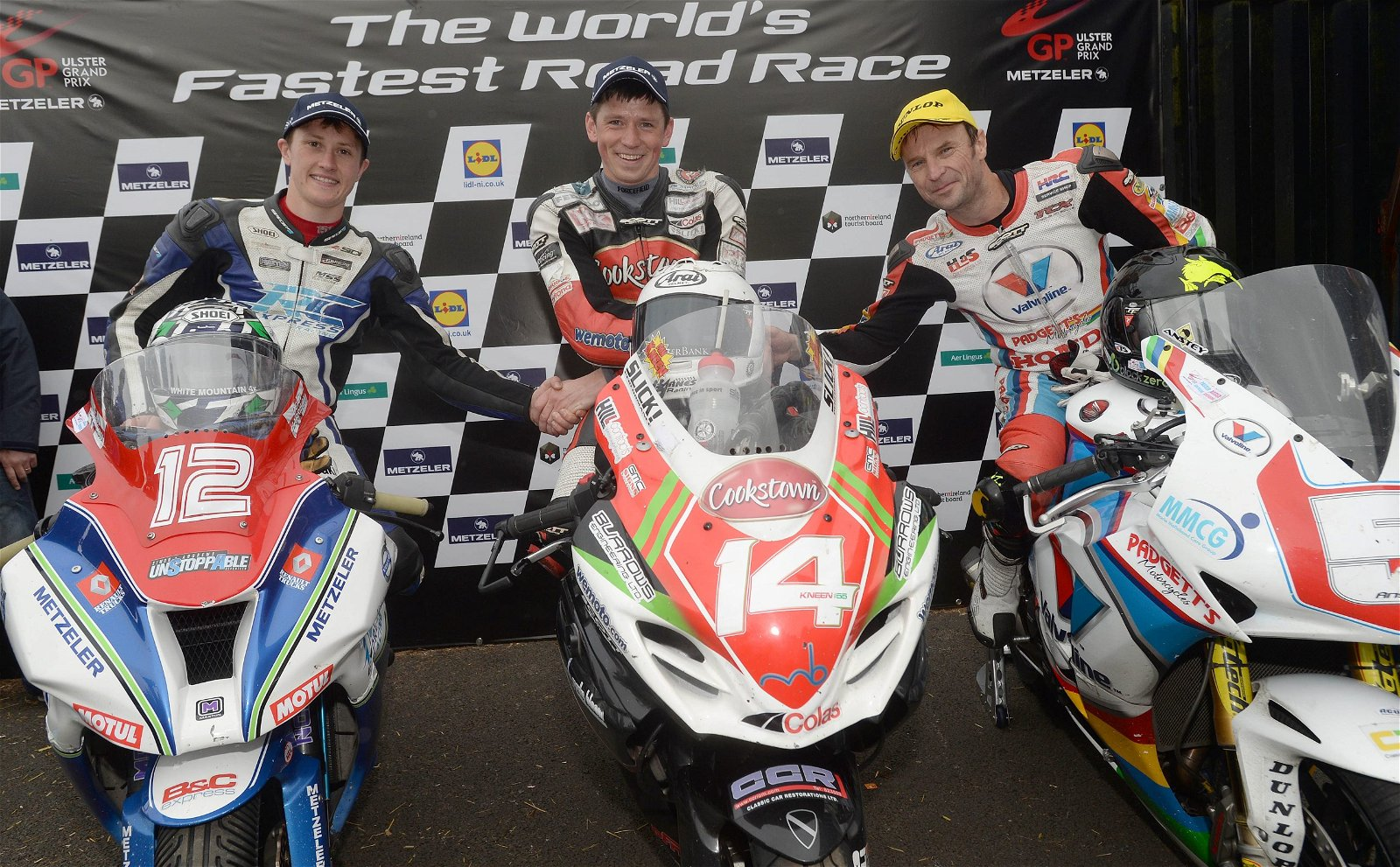 Last year's Superstock podium - Dean Harrison, Dan Kneen and Bruce Anstey - image by Pacemaker Press International
