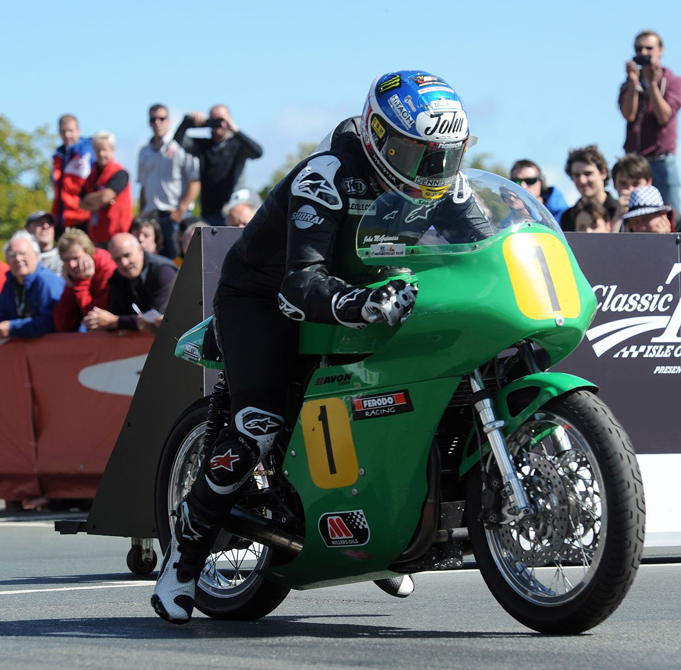 John McGuinness leaves the line at the beginning of the 500cc Classic TT race. Image from Pacemaker Press International