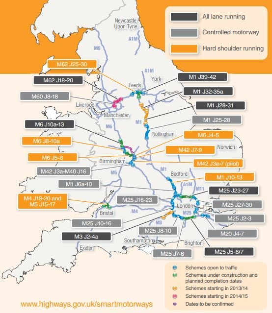 Smart motorway map from gov.co.uk