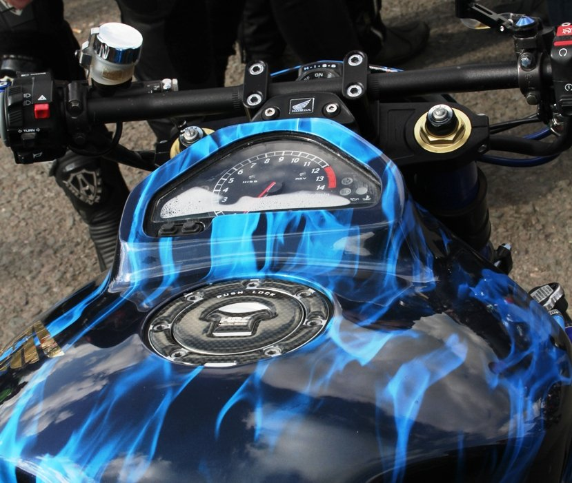 clock relocation on motorcycle