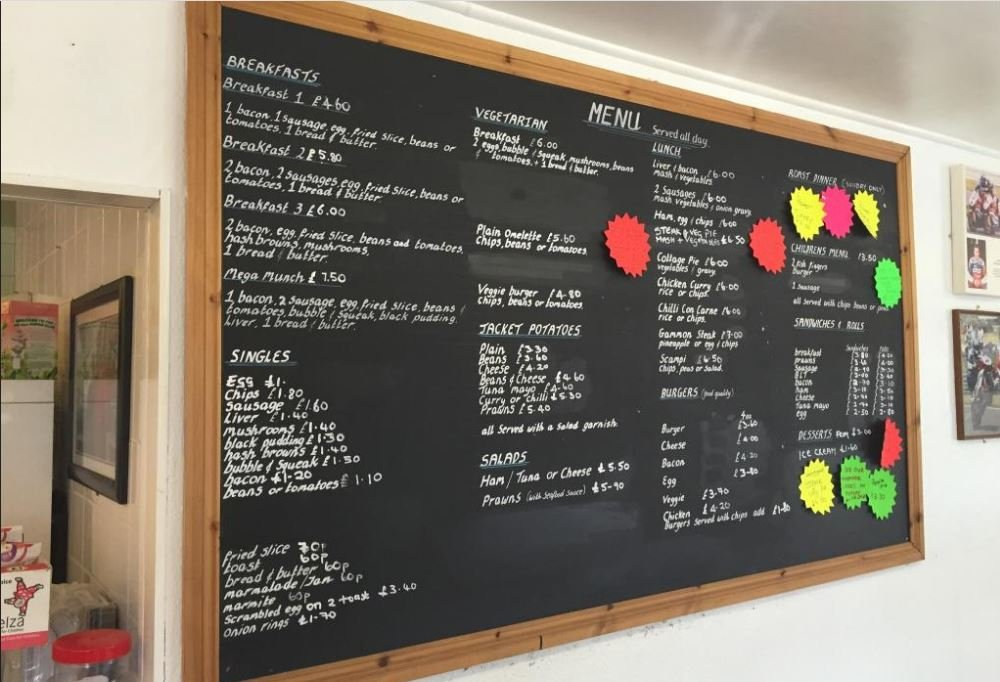 Blue and White Cafe menu credit fb