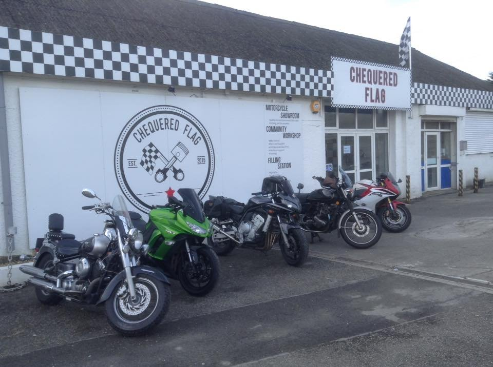 Chequered Flag bikes parked credit FB