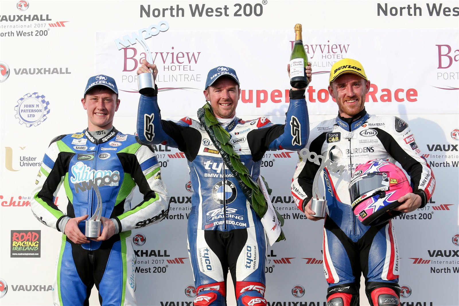 Harrison, Seeley and Johnston at North West 200 2017 credit Double Red