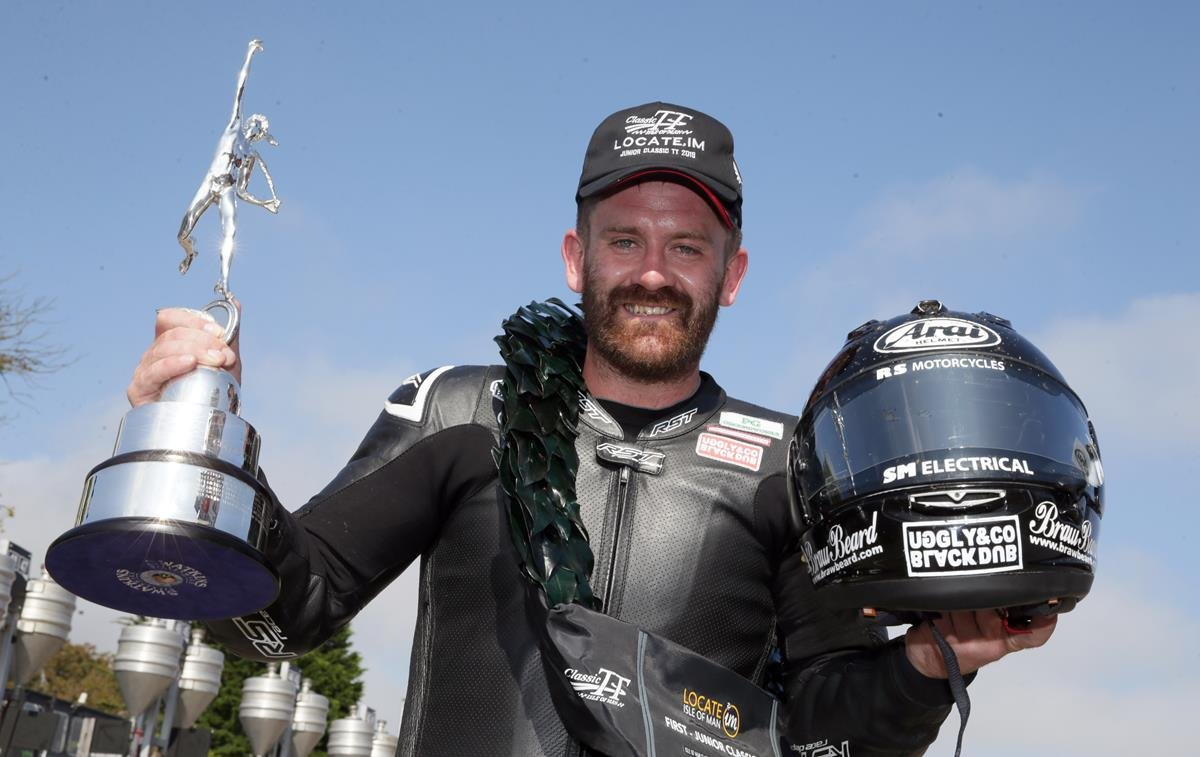 Jamie Coward with trophy at the Classic TT